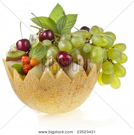 fruit mix basket  isolated on white