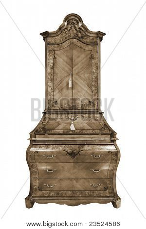 beautiful wooden bureau on a white background