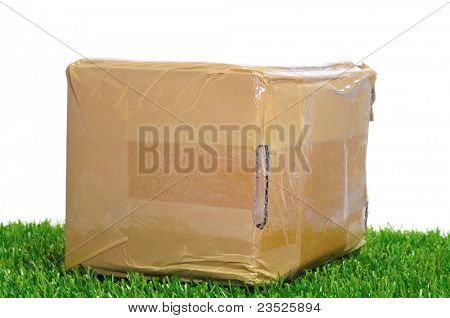 a package on the grass on a white background