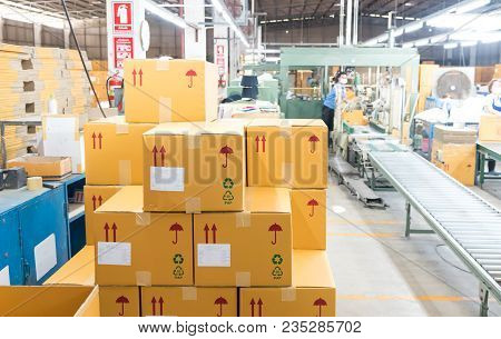 poster of Packaging Department To Prepare For Delivery To Customers. Closeup Box For Packing At Warehouse. Wor
