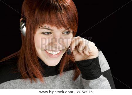 Smiling Call Center Redhead