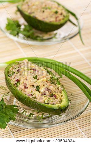 Salad Of Avocado And Tuna On Glass Plates