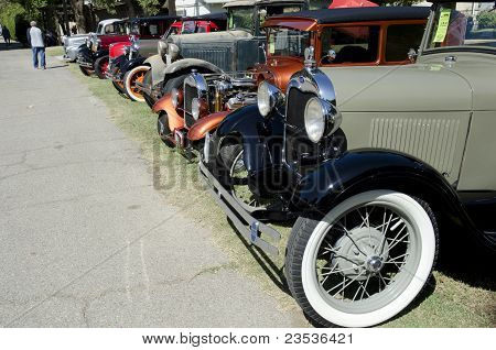 Line of Antique Autos