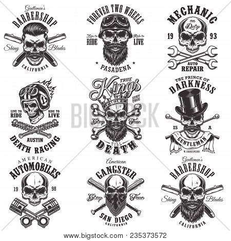 Vintage Monochrome Emblems With Skull