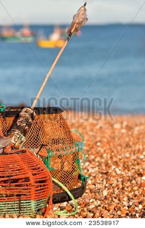 Crab/lobster pots on beach