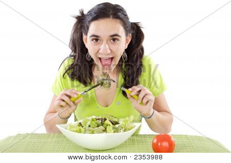 Teenager Eating Salad
