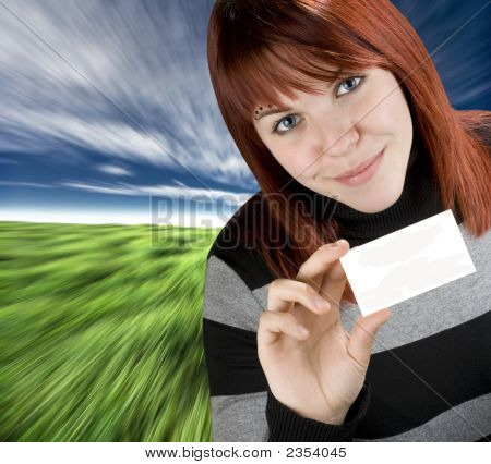 Successful Girl Holding A Black Business Card