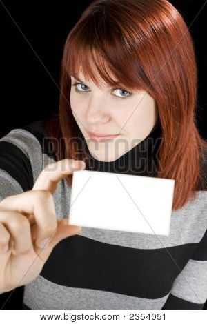 Smiling Girl Holding A Blank Card