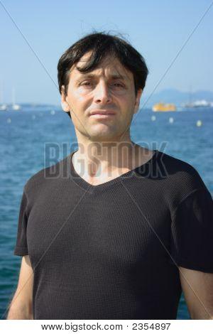 Elegant Man Near Sea
