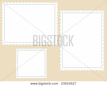 Three Blank Postage Stamps