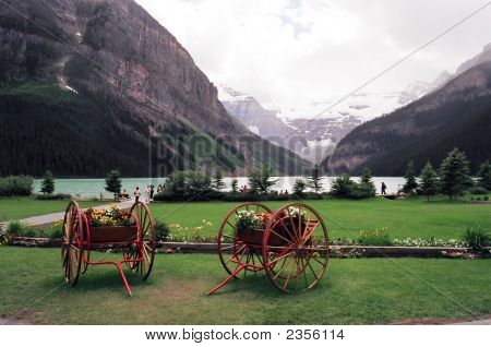 Lake Louise Canada With Carriage Wheels