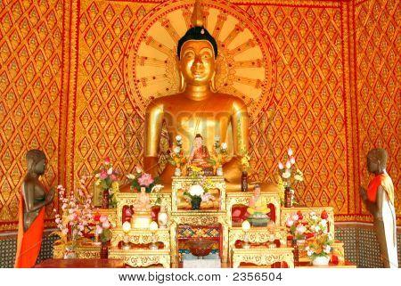 A Large Buddha Inside Dhammikarama Temple Malaysia