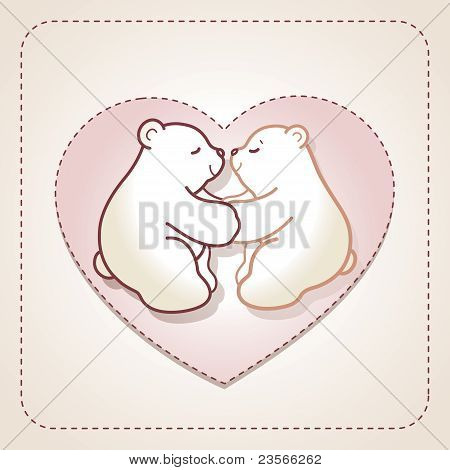 Valentine Card With Couple Of Hugging Bears In Heart.