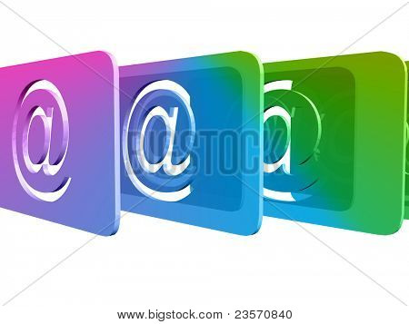 Email symbol with glossy light effects