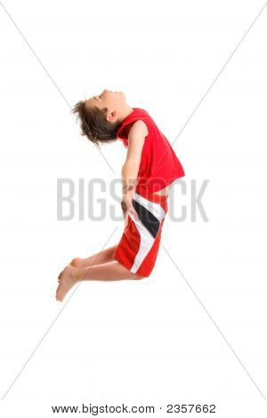 Boy Jumpging Arms Outstretched