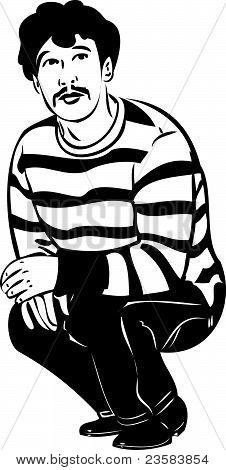 bosquejo de un chico con un bigote se sentó en sus muslos