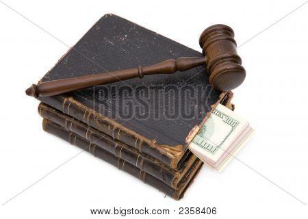 Gavel, Book, And Dollar