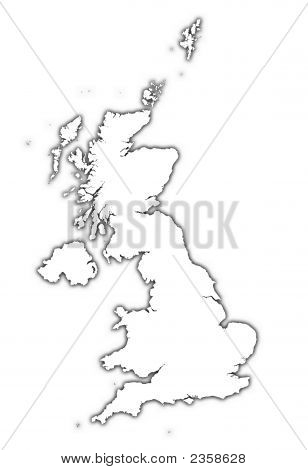 United Kingdom Outline Map With Shadow