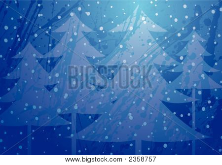 Christmas Trees Splatter Background