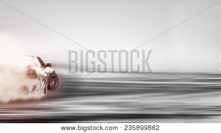 Blur Of Image Car Drifting
