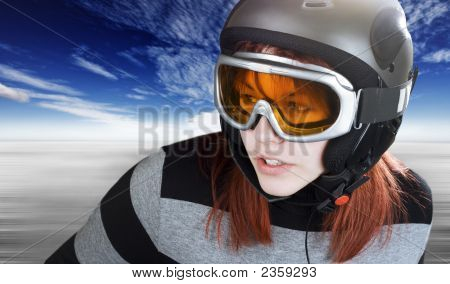 Redhead Girl Snowboarding