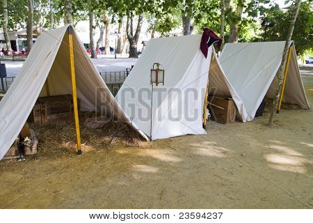 Military camp, tents and household goods during the re-enactment of the War of Succession. September 4, 2010 in Brihuega, Spain