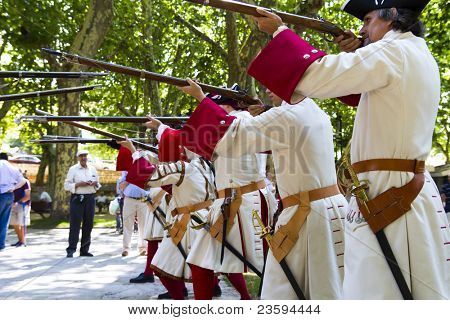 BRIHUEGA, SPAIN - SEPTEMBER 4: Troop of soldiers in training during the re-enactment of the War of Succession. September 4, 2010 in Brihuega, Spain