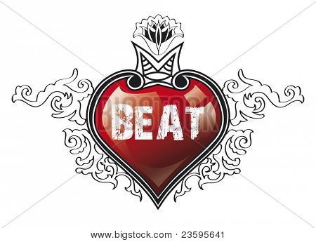 Heart Beat, illustration over white background