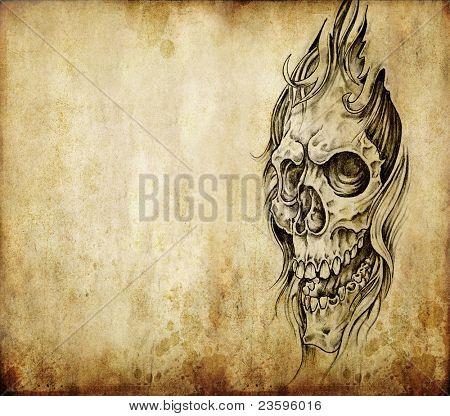 Tattoo kunst, schets van een dood over oud papier