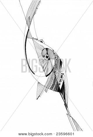 Unusual Abstract Pencil Drawing Fish