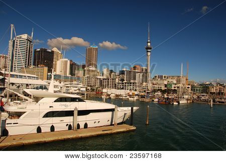 yacht in Auckland harbor, New Zealand