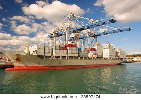Container ship in Port of Auckland, New Zealand