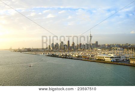Auckland city at sunrise light