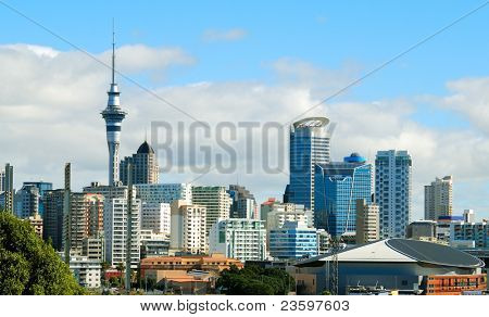 Auckland city sky line with blue sky background