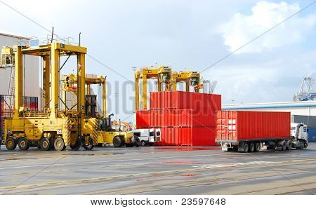 cargo cranes at the shipyard
