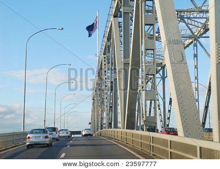 traffic on Auckland Harbor bridge, New Zealand