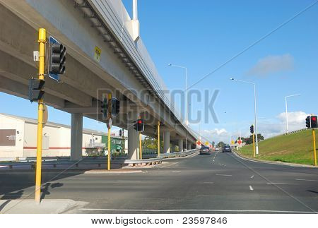 Freeway Interchange on the blue sky
