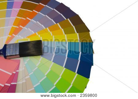 Fan Of Colour Swatches And Paint Brush