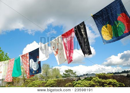colorful clothes hanging outside