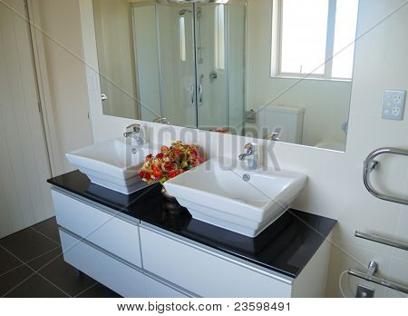 stylish bathroom interior with mirror and decoration