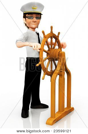 3D captain sailing handling a wooden rudder - isolated