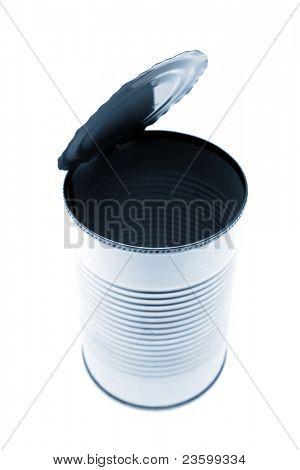 Open tin can on white
