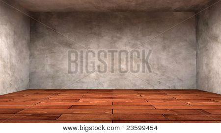 empty wooden interior room.