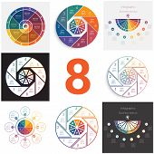 Set Universal Elements For Templates Infographics Cyclic Conceptual Processes 8 Positions Possible T poster