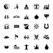 Icon Set Of European And Asian Culture Symbols. Traditional Culture, Famous Places, National Symbols poster