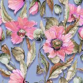 Beautiful Pink Poppy Flowers On Lilac Background. Pastel Colored Seamless Floral Pattern. Watercolor poster