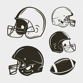 Set Of American Football Equipment And Gear. Helmets And Ball. Sport Design Elements For Logotypes A poster