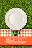Vector Realistic 3D Illustration Of Plate, Red Plaid On Green Grass Lawn. Picnic In Park. Banner, Po poster