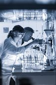 Health Care Researchers Working In Life Science Laboratory. Young Female Research Scientist And Seni poster