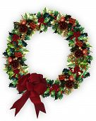 stock photo of christmas wreath  - Image and illustration composition of 3D Decorated Christmas Wreath - JPG